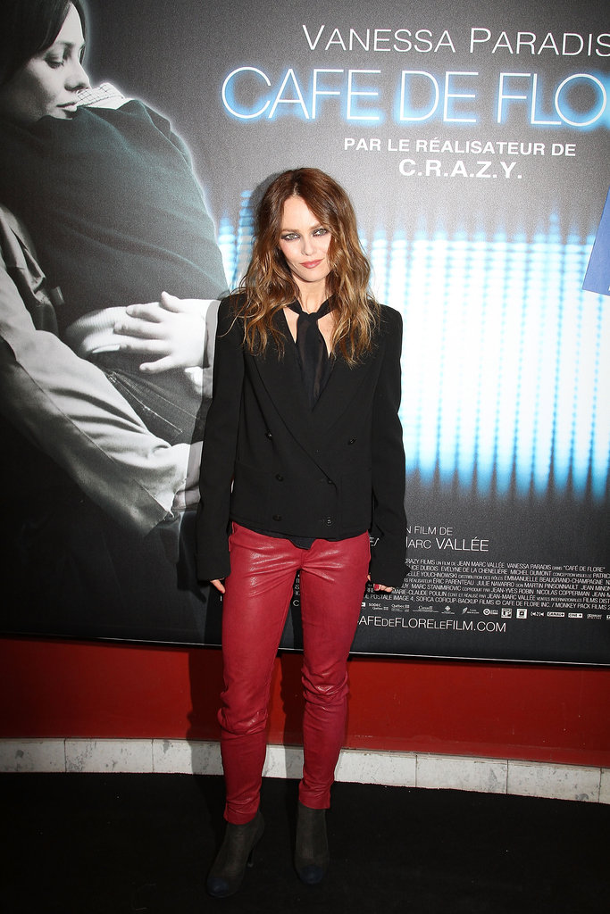 Vanessa Paradis wore red leather pants on the red carpet.