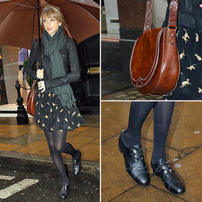 Recreate Taylor Swift's DW3 Printed Dress and Black Oxfords As Seen Out and About in London