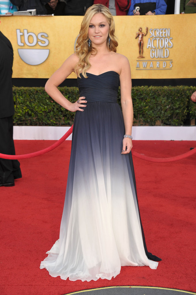 Julia Stiles posed on the red carpet in 2011 in a ombre-tinged Monique Lhuillier strapless gown and Christian Louboutin heels.