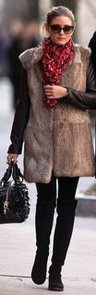 Olivia Palermo Fur Vest Leather Top