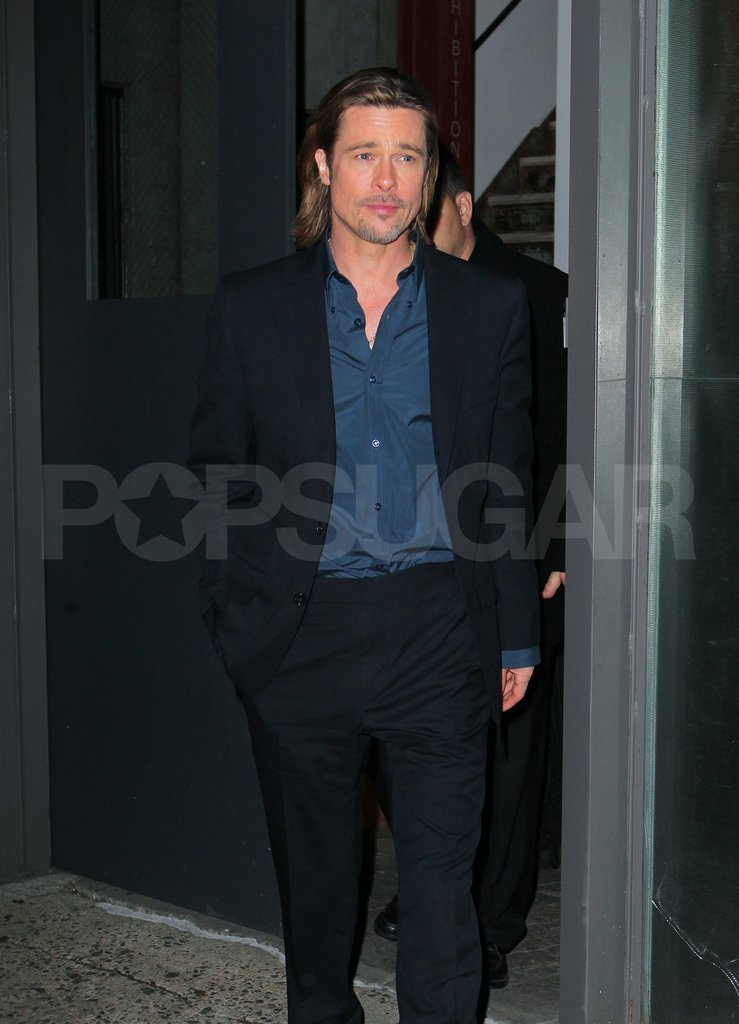 Brad Pitt left a TV appearance in NYC.