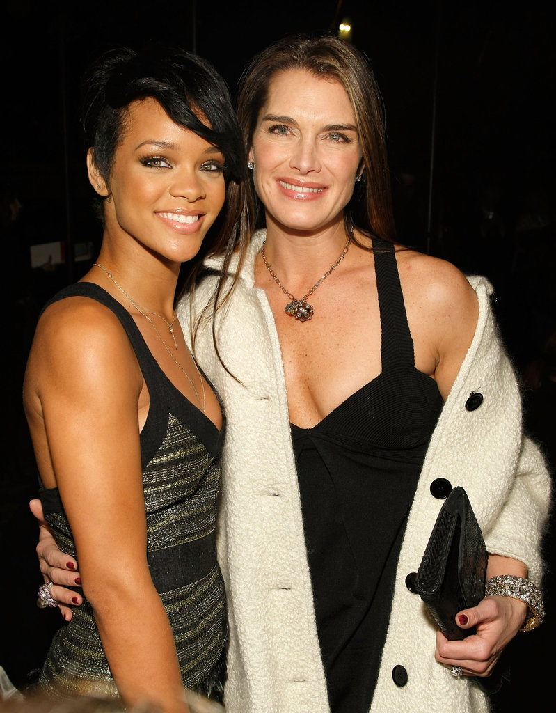 Rihanna and Brooke Shields posed together at Proenza Schouler's show in February 2007.