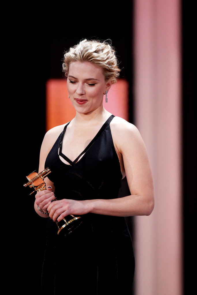 Scarlett Johansson wore Calvin Klein to accept a prize at the Golden Camera Awards.