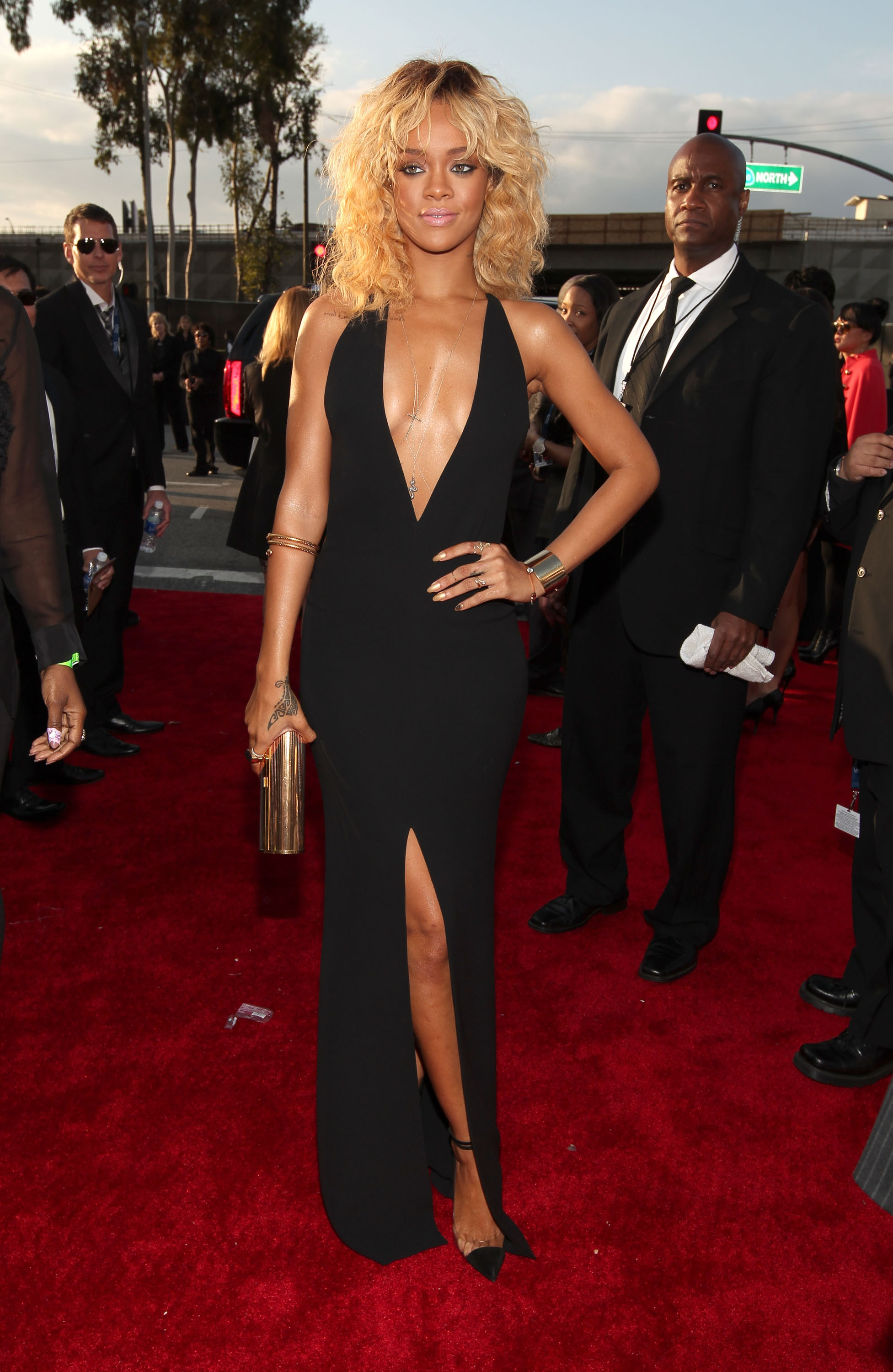Rihanna in a black Armani gown at the Grammys.