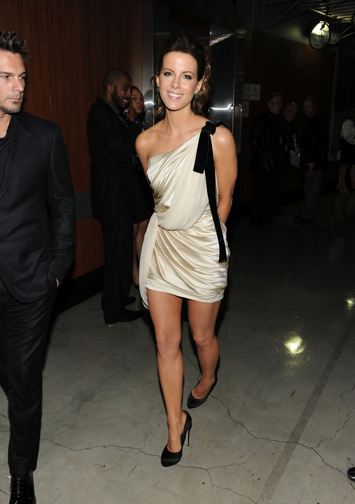 Kate Beckinsale wore a black and white minidress to the celebration.