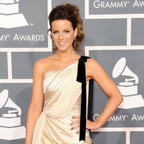 Kate Beckinsale Pictures in Short White Dress at 2012 Grammys