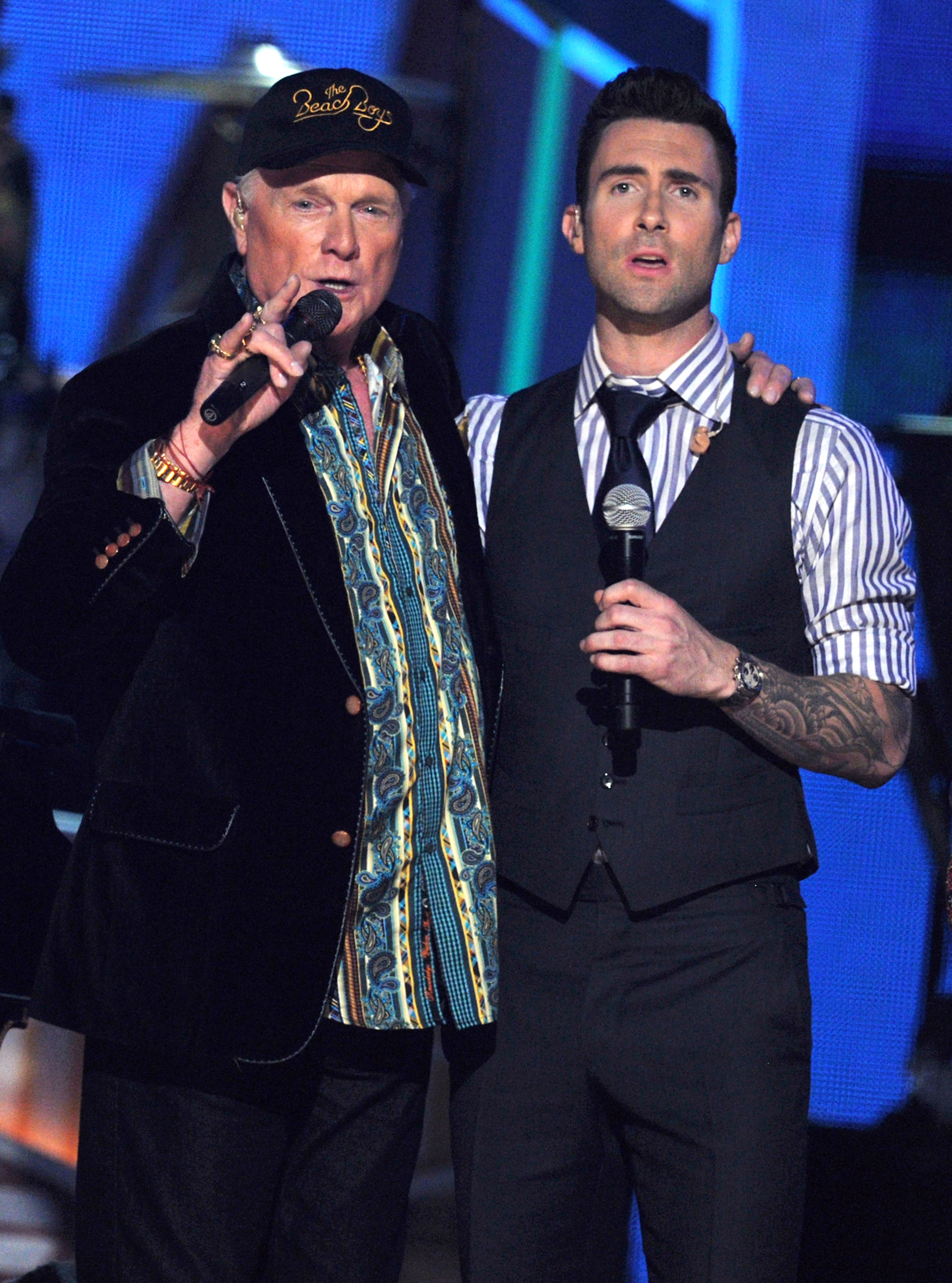 Mike Love and Adam Levine performed at the Grammys.