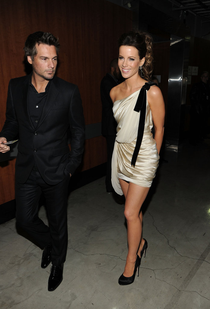 Kate Beckinsale's husband Len Wiseman kept her company backstage.