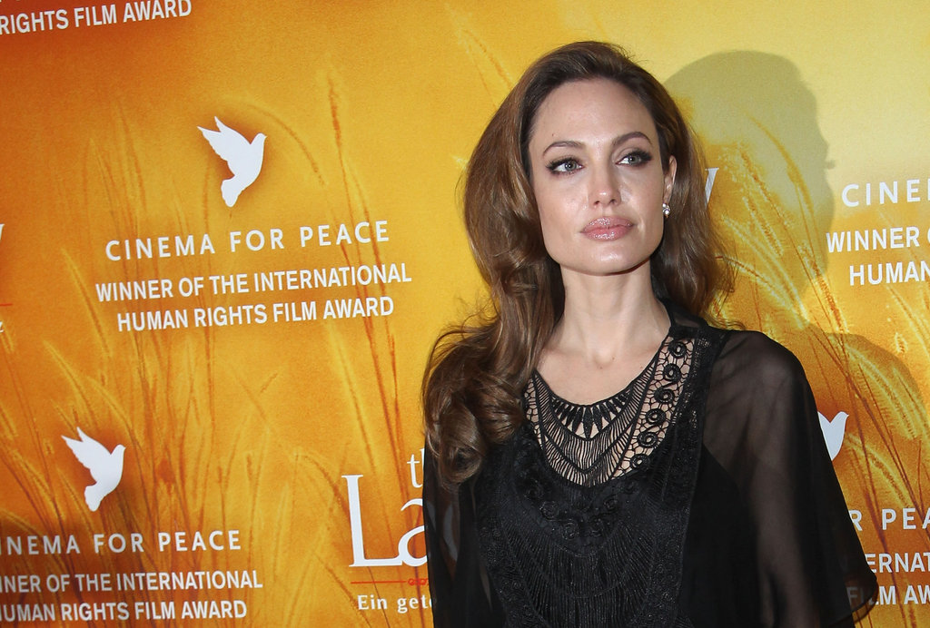 Angelina looked beautiful in black Miguelina.