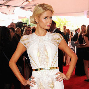 Paris Hilton in Basil Soda Dress Pictures at 2012 Grammy Awards