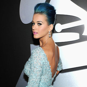 Katy Perry Blue Hair and Elie Saab Dress Pictures at 2012 Grammy Awards