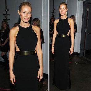 Gwyneth Paltrow Wears Black Stella McCartney Dress to the 2012 Grammy Awards. Love That Gold Belt!