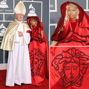 Nicki Minaj and Her Pope Makes a Splash in Red Satin Versace Cape at the 2012 Grammy Awards