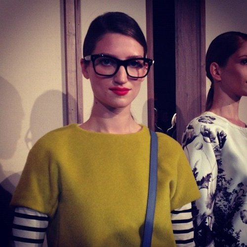 A Jenna Lyons doppelganger at J.Crew's Fall 2012 presentation made our day.