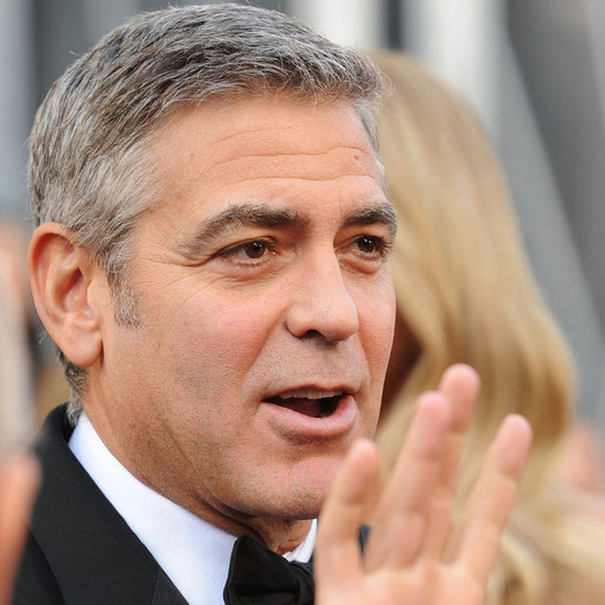 George Clooney and Stacy Keibler in Marchesa Dress Pictures at 2012 Oscars