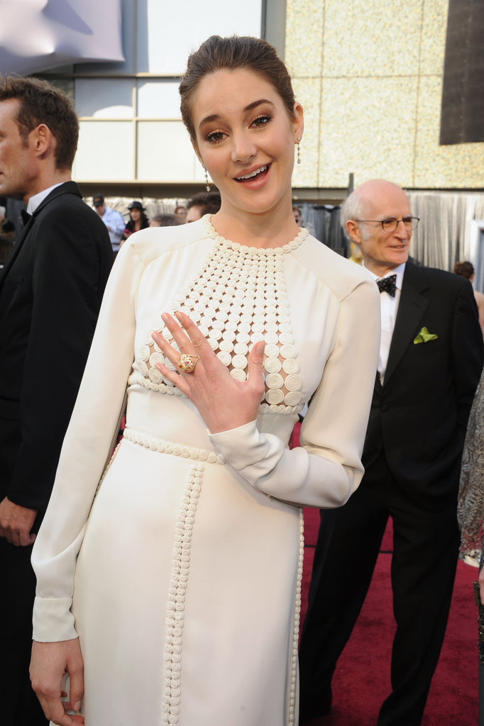 Shailene Woodley shows off her ring on the Oscars red carpet.