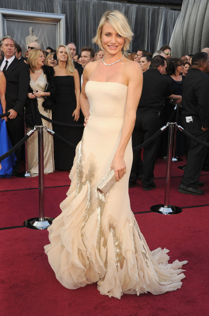 Cameron Diaz in a strapless gown at the Oscars.