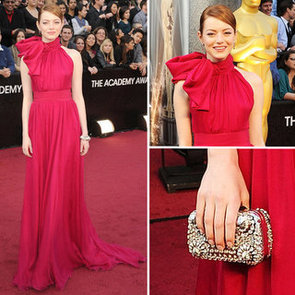 Emma Stone Wears One Shouldered Red Giambattista Valli Gown to the 2012 Oscars: Similar to Nicole Kidman's 2007 Baleciaga, non?