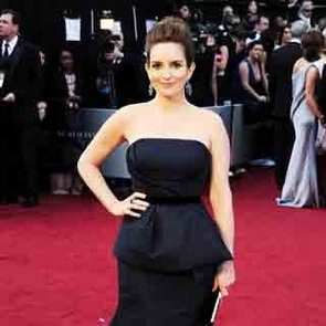 Tina Fey in Navy Peplum Carolina Herrera Gown on the 2012 Oscars Red Carpet: Rate It?