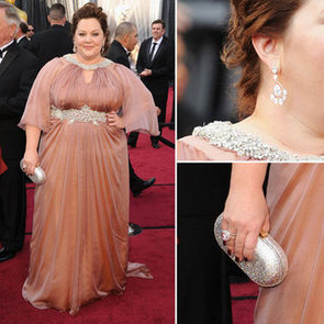 Bridesmaids Star Melissa McCarthy Goes Glam at the 2012 Oscars in Marina Rinaldi Gown and Custom Made Brian Atwood Heels