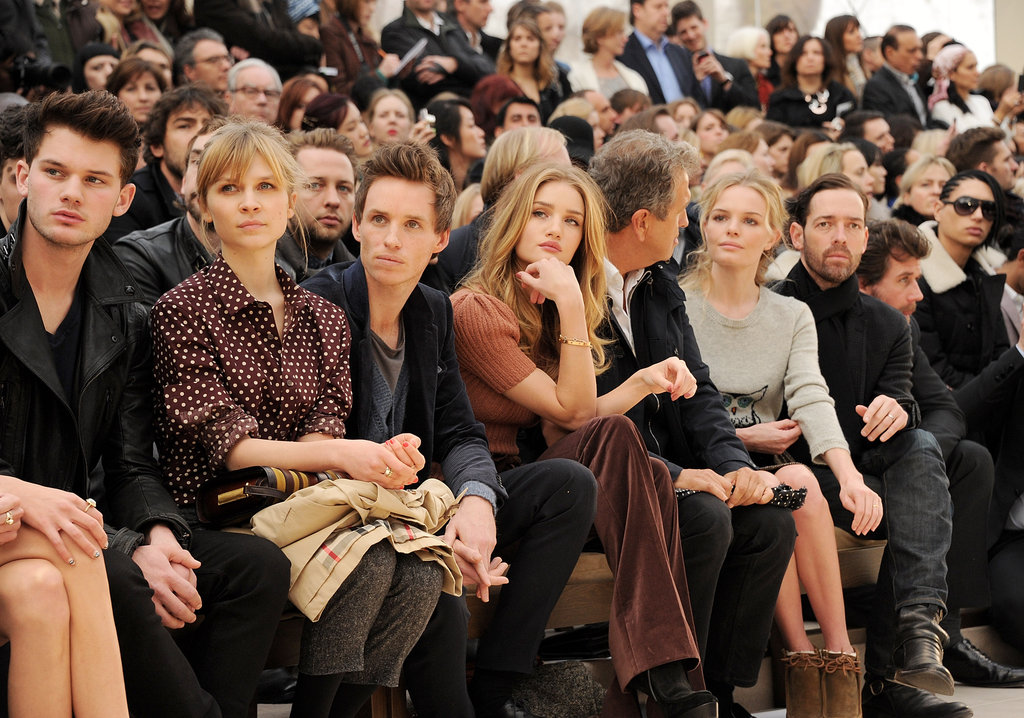 Eddie Redmayne, Rosie Huntington-Whiteley and Kate Bosworth looked on at Burberry showed their 2012 collection at New York Fashion Week.