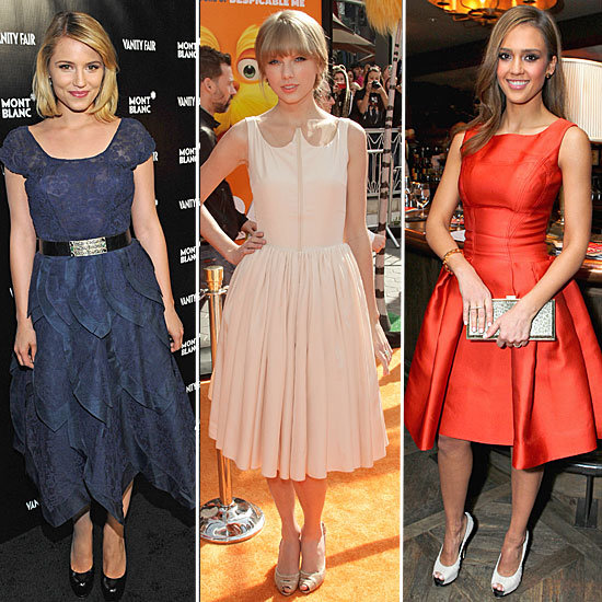 Celebrity Trendspotting: Jessica Alba, Taylor Swift, Dianna Agron and More Don Full-Skirted, Ladylike Dresses