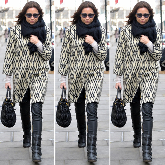 Minnie Driver Black and White Coat