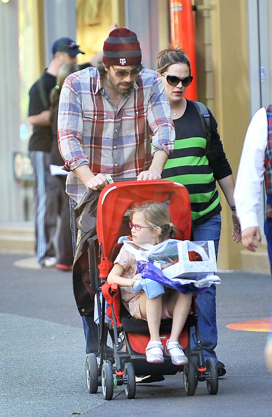 Ben Affleck pushed Violet and Seraphina in a stroller.