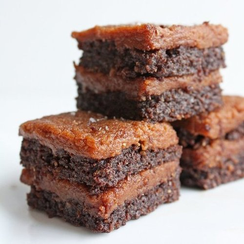 "Salted ""Caramel"" Flax Brownies"