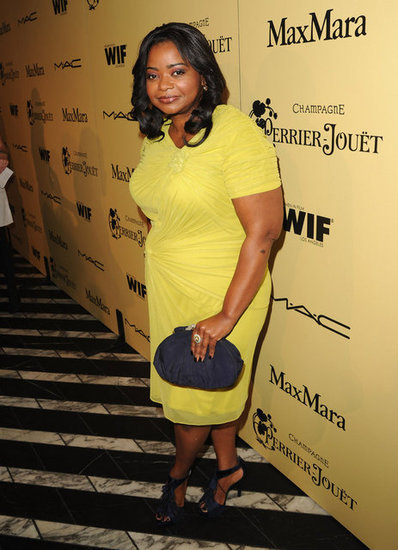 Keeping in line with the bold colors for Spring, Octavia Spencer wore a custom yellow Tadashi Shoji dress.