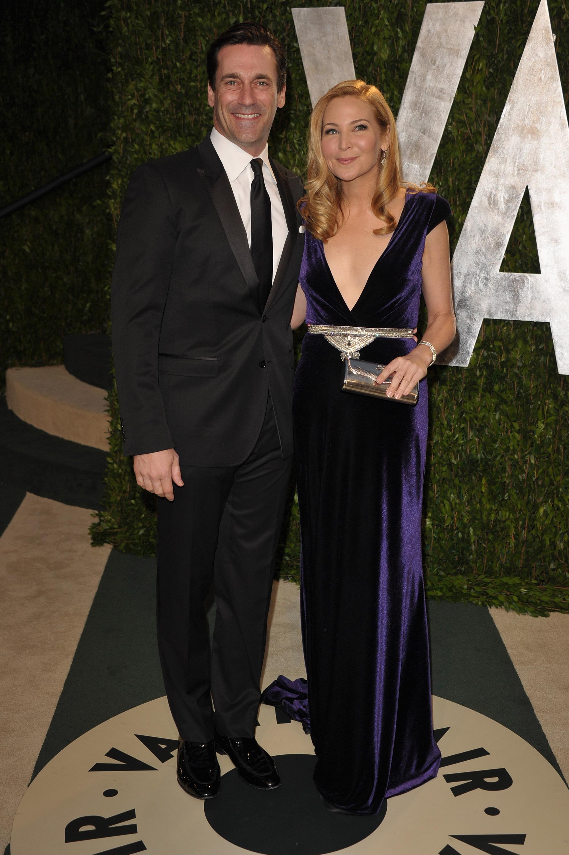John Hamm and Jennifer Westfeldt strike a pose at the Vanity Fair party.