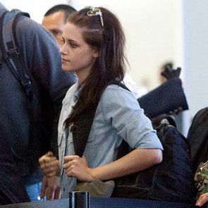 Kristen Stewart in a Denim Shirt at LAX Pictures
