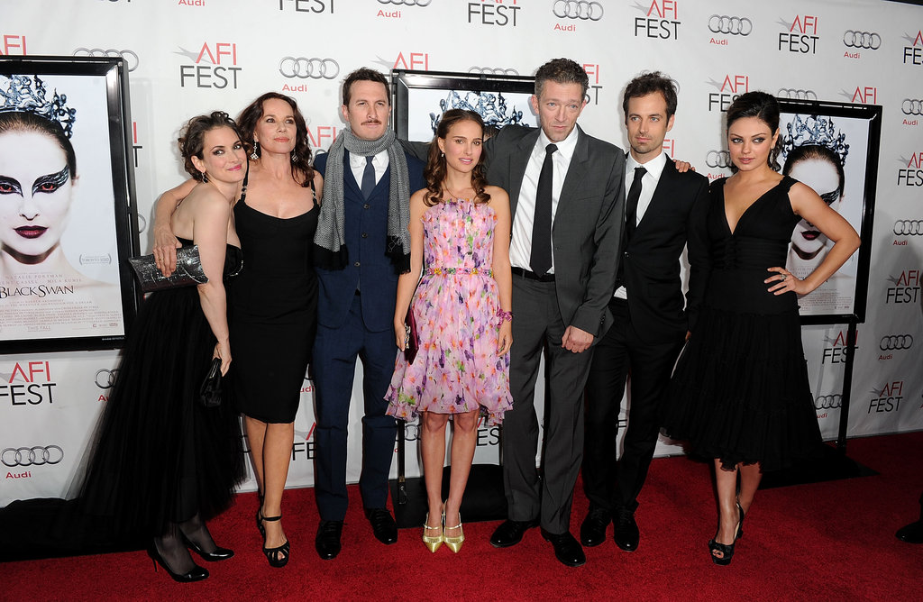 Winona Ryder, Barbara Hershey, Darren Aronofsky, Natalie Portman, Vincent Cassel, Benjamin Millepied and Mila Kunis went to the 2010 LA premiere of Black Swan.