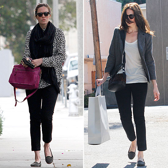 Mandy Moore proves with two street-styled looks that her studded Loeffler Randall loafers are the perfect finish for an on-the-go ensemble. They pair just as well with print and color as they do with a simplified, preppier look.  4815098