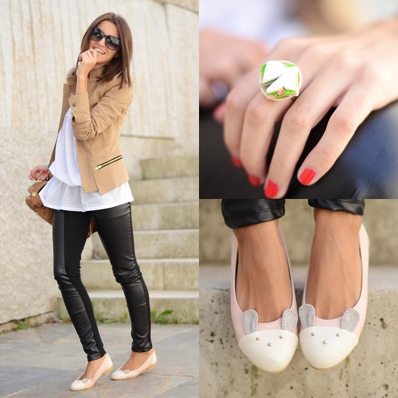 Give your leather leggings a girlie edge with cute bunny-motif flats. These cutesy shoes aren't over the top, but they definitely provide a softer side to the tougher pieces. Photo courtesy of Lookbook.nu