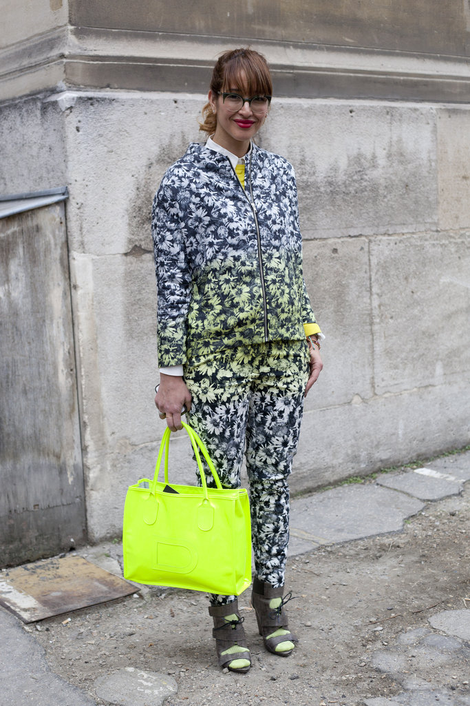 To further accentuate a printed-up look, add a pop of neon colour.