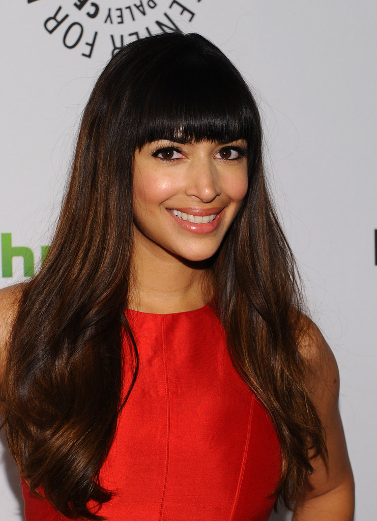 Hannah Simone was all smiles chatting with press.