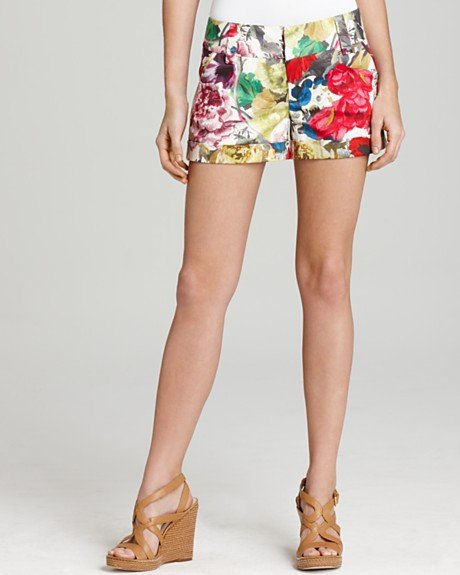 Colorful floral shorts in a crisp and tailored silhouette.  Alice + Olivia Cady Floral Short ($165)