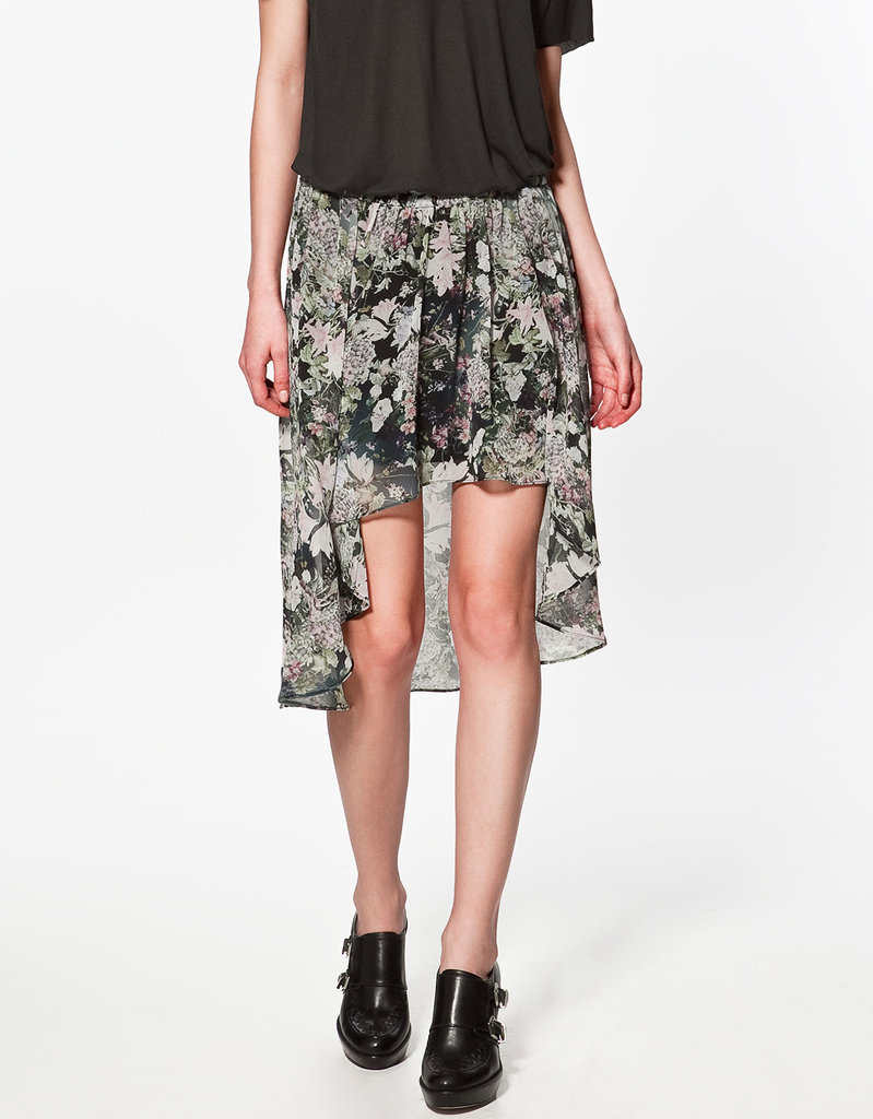 A sleek semi-sheer floral pattern is ideal for really unbearable Summer days, and perfect for pairing with strappy flat sandals.  Zara Asymmetric Floral Skirt ($60)
