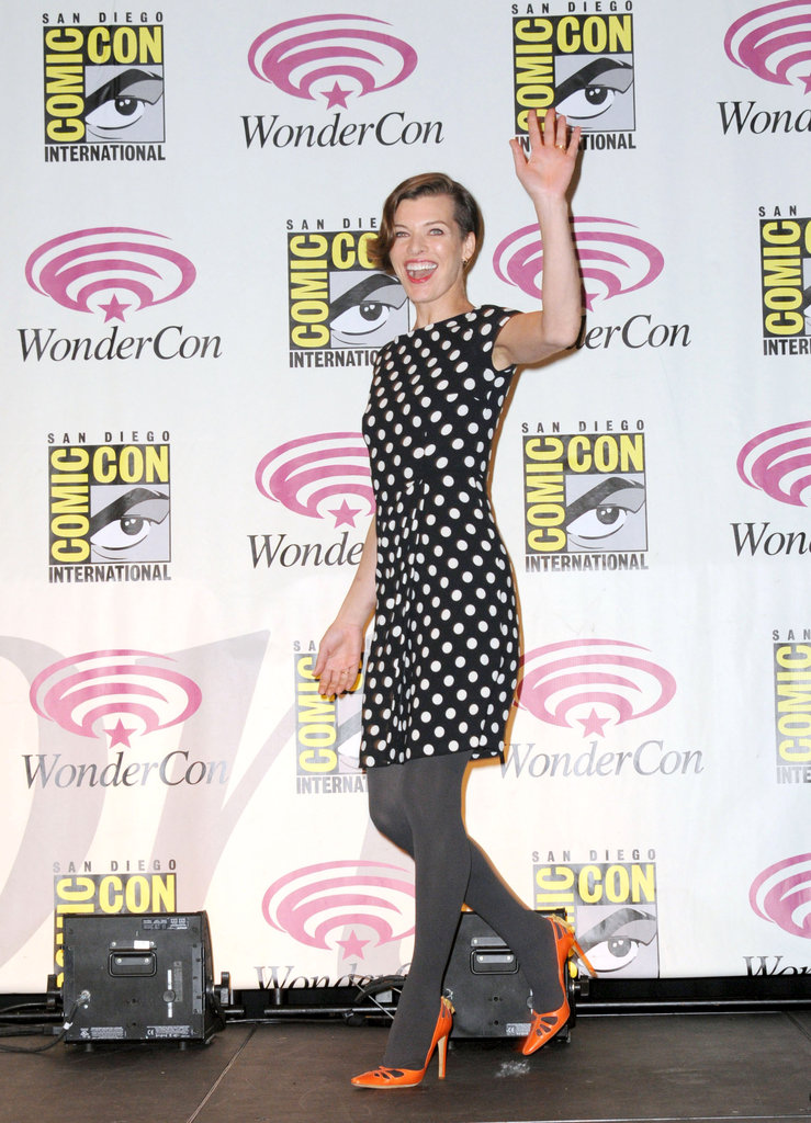 Milla Jovovich wearing polka dots at WonderCon.