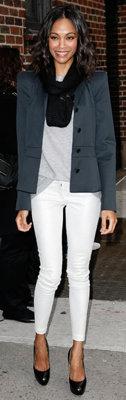 Zoe Saldana in White Jeans
