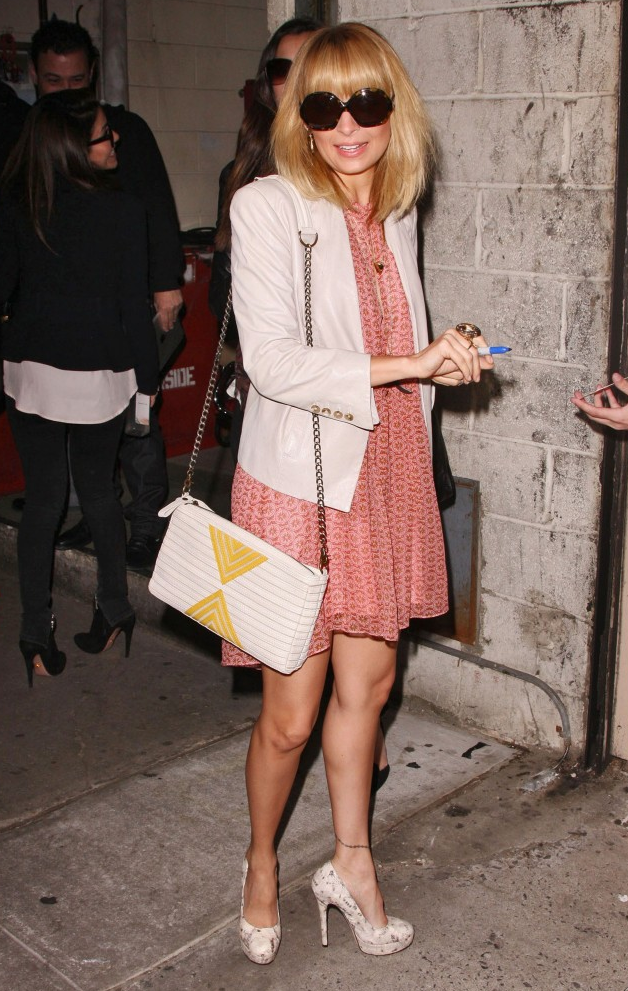 While promoting the new show in NYC, Nicole donned a girlie Winter Kate frock with a white blazer, House of Harlow pumps, and oversized sunglasses.       Blazers by BB DakotaPumps by House Of Harlow