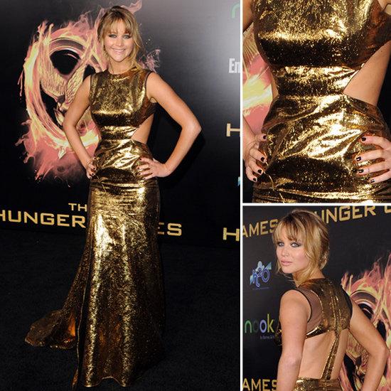 Jennifer Lawrence Gold Cutout Gown