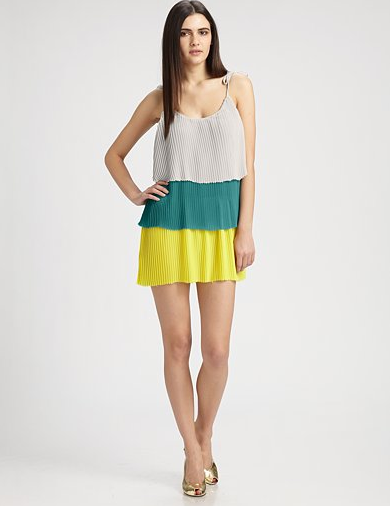 This colorblocked dress is a more subtle take on the babydoll silhouette. Pair it with a blazer and flats for a chic office appropriate look.  Patterson J. Kincaid Delta Pleated Dress ($179)