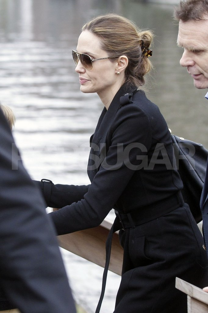 Angelina Jolie got off an Amsterdam canal boat.