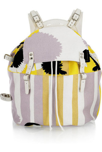 Diane von Furstenberg | Printed canvas and leather backpack | NET-A-PORTER.COM