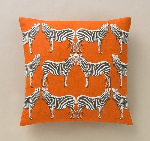 Zebra Tangerine Pillow