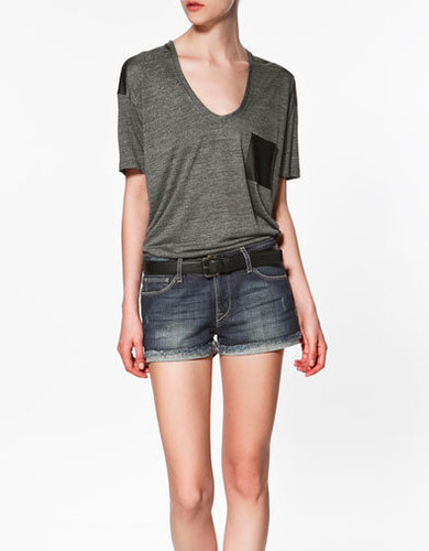 T-SHIRT WITH LEATHER DETAILS - T-shirts - Woman - ZARA United States
