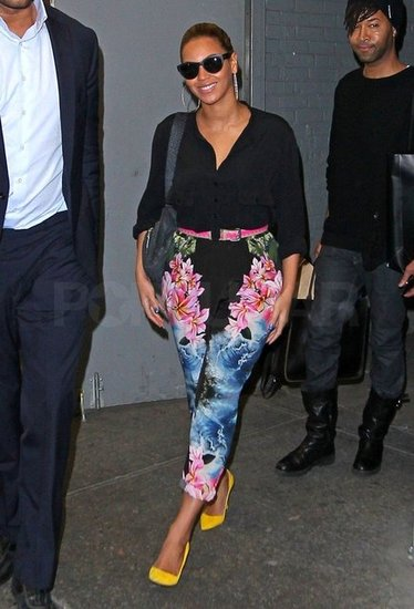 Beyoncé Gets Back to Business in Bright Floral Pants