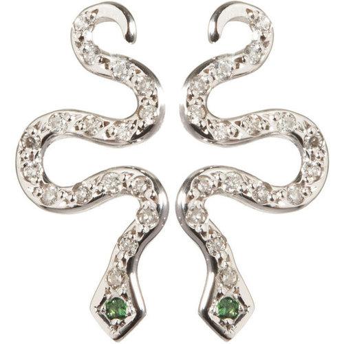 Ileana Makri Diamond Little Snake Earrings